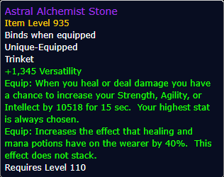New Trinket: Astral Alchemist Stone