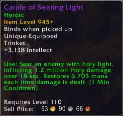 Antorus Healing Trinkets: Carafe of Searing Light